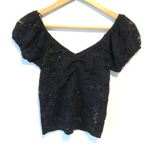 5/25$ Forever 21 | lacy see-through black shirt